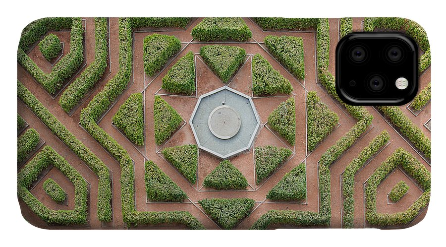 Fountain IPhone Case featuring the photograph Aerial View Of A Hedge Maze by Javier Rosano