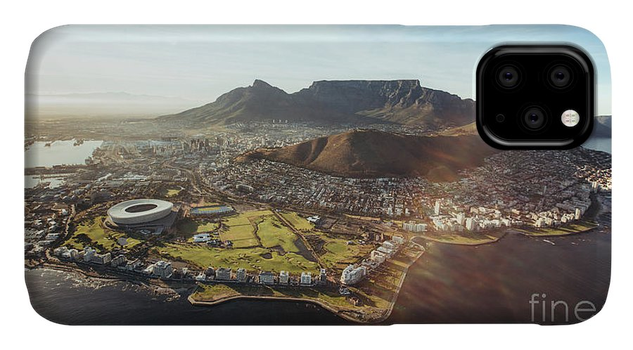 Flare IPhone Case featuring the photograph Aerial View Of Cape Town With Cape Town by Jacob Lund