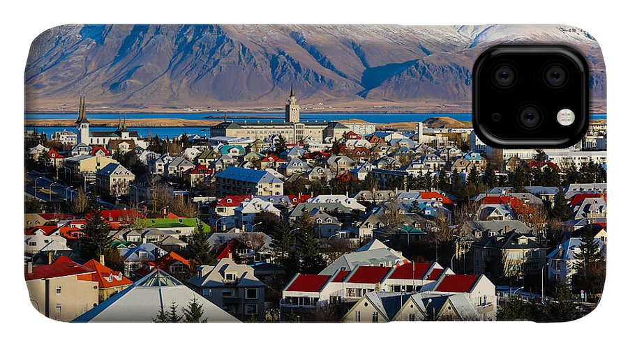 Icelandic IPhone Case featuring the photograph Aerial View Of Reykjavik, Iceland With by Philip Ho