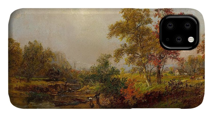 Jasper Francis Cropsey IPhone 11 Case featuring the painting An October Day by Jasper Francis Cropsey