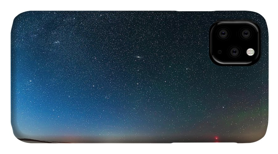 Alberta IPhone Case featuring the photograph Andromeda Galaxy Rising Over Mcgregor by Alan Dyer