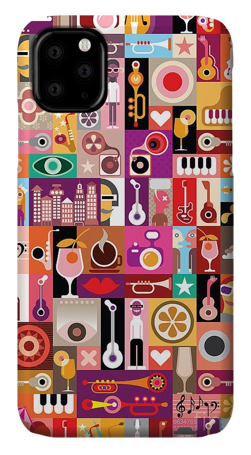 Notes IPhone Case featuring the digital art Art Collage, Musical Vector by Danjazzia