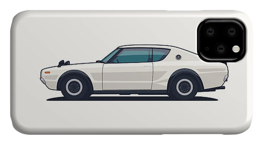 Gt-r IPhone Case featuring the digital art Kpgc110 Gt-r Side - Plain White by Organic Synthesis