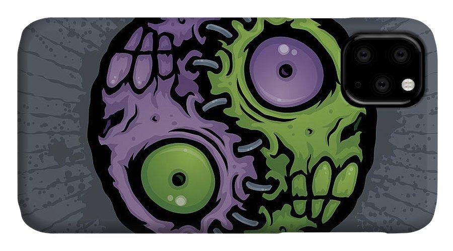 Zombie IPhone 11 Case featuring the digital art Zombie Yin-yang by John Schwegel