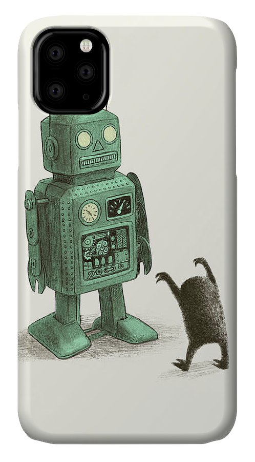 Vintage IPhone Case featuring the drawing Robot Vs Alien by Eric Fan