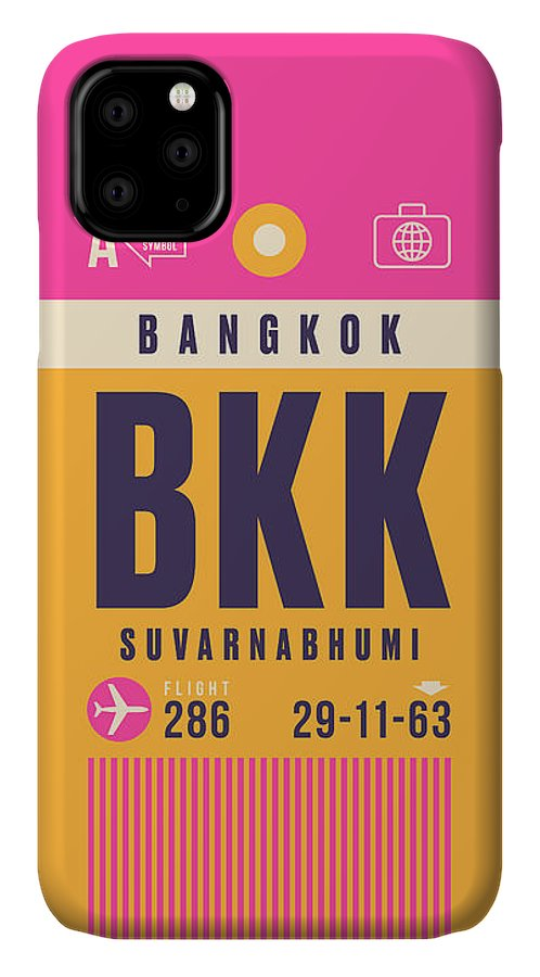 Airline IPhone Case featuring the digital art Retro Airline Luggage Tag - Bkk Bangkok Thailand by Organic Synthesis