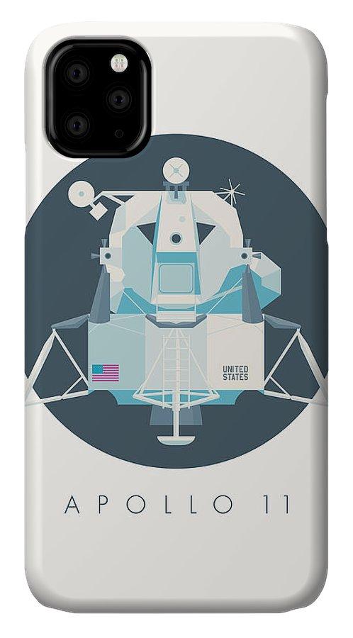 Apollo 11 IPhone Case featuring the digital art Apollo Lunar Module Lander Minimal - Text Charcoal by Ivan Krpan