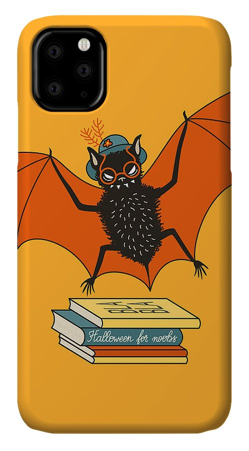 Halloween IPhone Case featuring the digital art Bat Granny Librarian Book Lover by Boriana Giormova