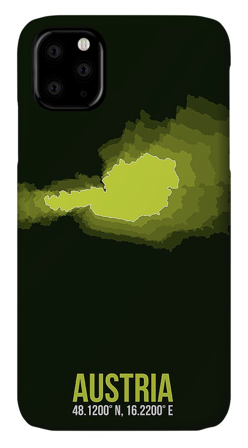 Map Of Austria IPhone Case featuring the digital art Austria Radiant Map 3 by Naxart Studio
