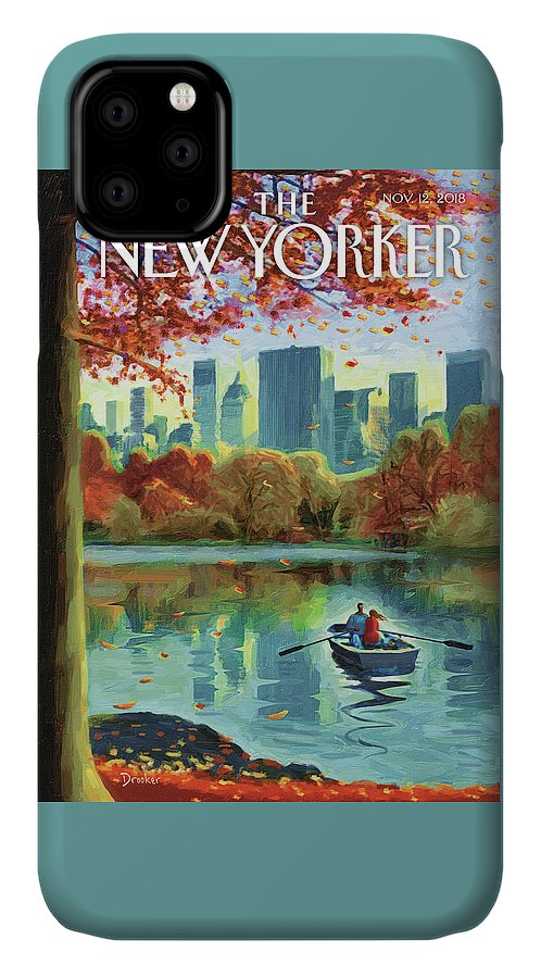 Autumn Central Park IPhone Case featuring the drawing Autumn Central Park by Eric Drooker