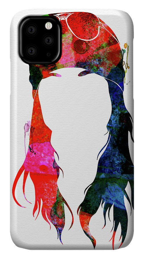 Axl Rose IPhone Case featuring the mixed media Axl Rose Watercolor by Naxart Studio