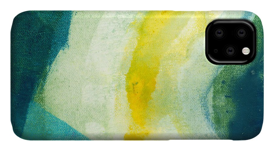 Abstract IPhone 11 Case featuring the painting Back by Claire Desjardins