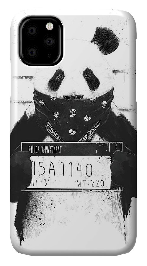 Panda IPhone Case featuring the drawing Bad Panda by Balazs Solti