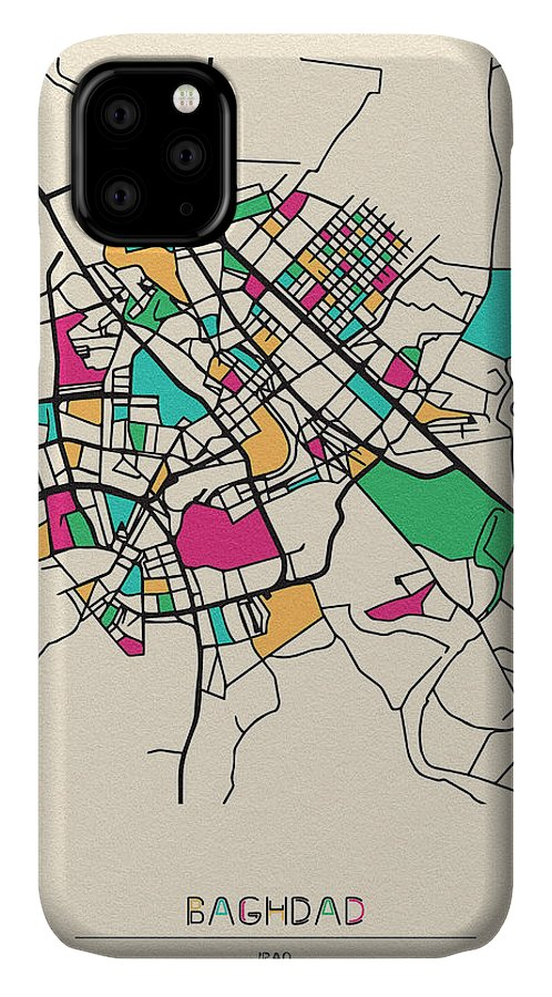 Baghdad IPhone Case featuring the digital art Baghdad, Iraq City Map by Inspirowl Design