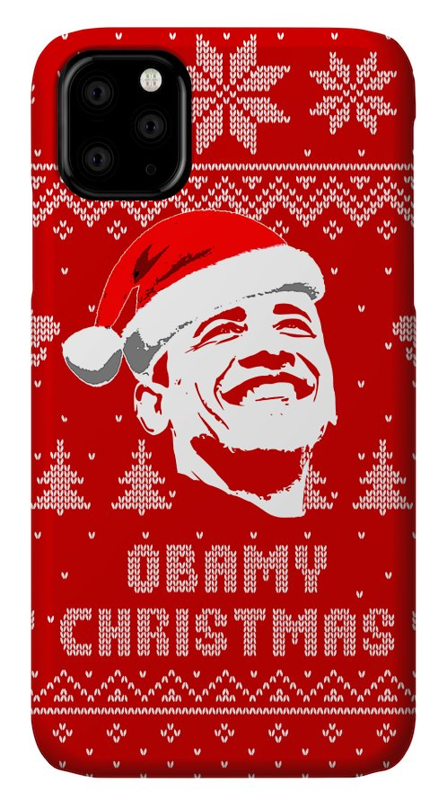 Santa IPhone Case featuring the digital art Barack Obama Obamy Christmas by Filip Hellman