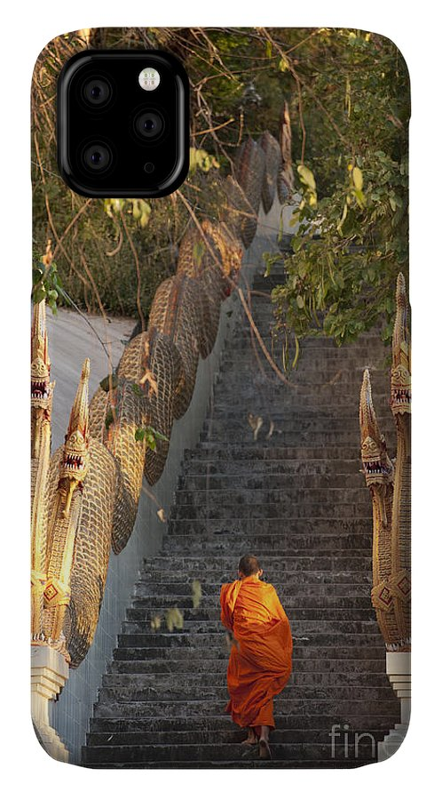 Religious IPhone Case featuring the photograph Barefooted Buddhist Monks In Chiang Mai by 10 Face