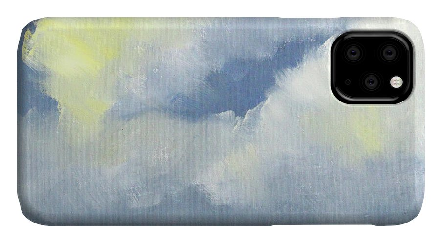 Beach Scene IPhone Case featuring the painting Beach Day Clouds by Nancy Merkle