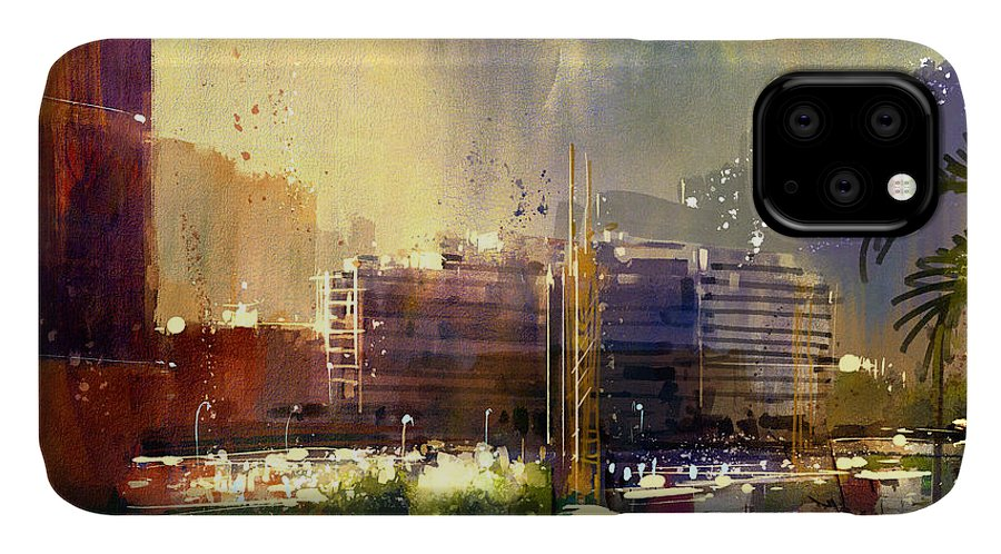 City IPhone Case featuring the digital art Beautiful City Skyline View,watercolor by Tithi Luadthong
