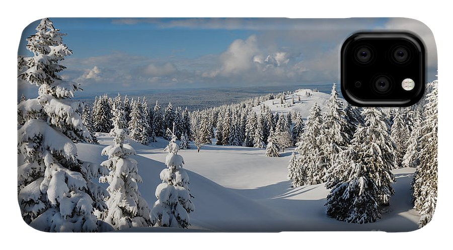 Sky IPhone Case featuring the photograph Beautiful Snowy Landscape .firs In A by Godin Stephane