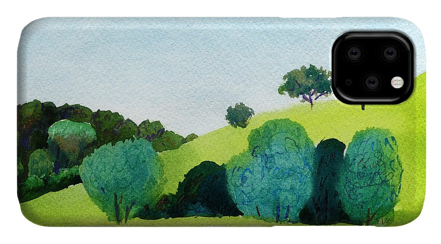 Pond IPhone Case featuring the digital art Beautiful Watercolor Of Public Park by Artsandra