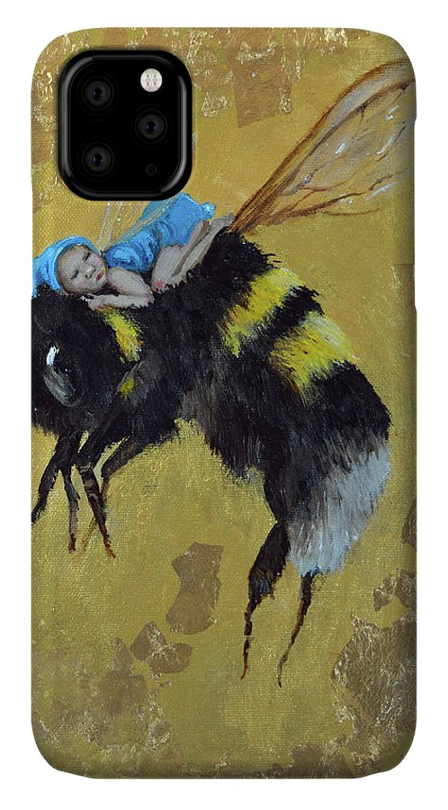 Bee Lullaby IPhone Case featuring the painting Bee Lullaby by Sue Clyne