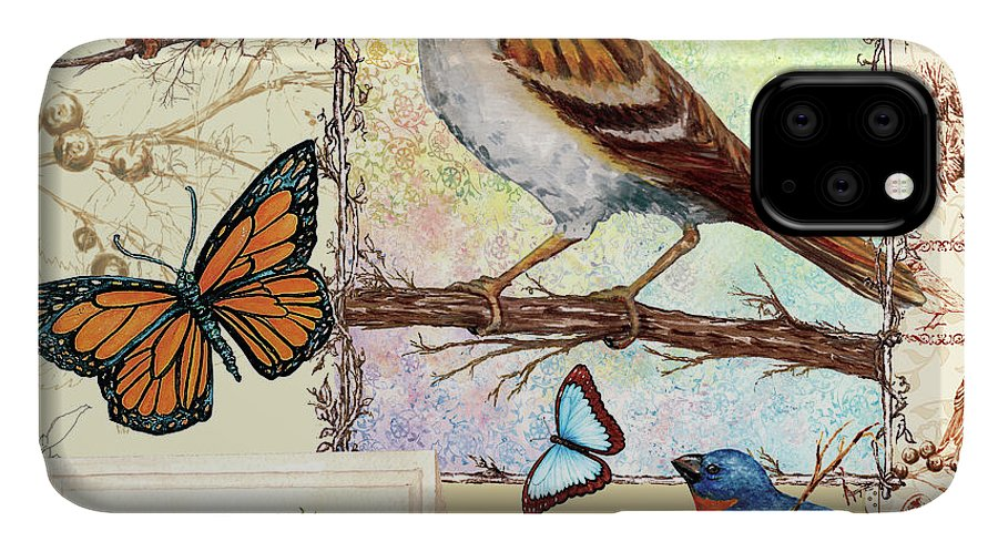 Birds IPhone Case featuring the mixed media Birds, Butterflys, Bees-pastels by Sher Sester
