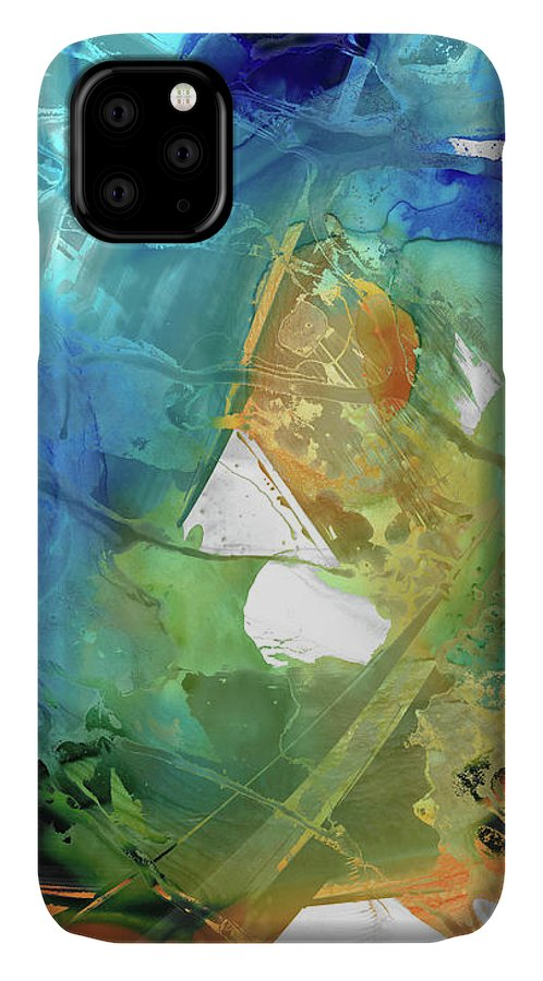 Blue IPhone 11 Case featuring the painting Blue And Orange Abstract Art - Good Vibrations - Sharon Cummings by Sharon Cummings