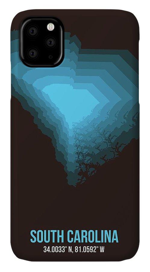South Carolina IPhone 11 Case featuring the digital art Blue Map Of South Carolina by Naxart Studio
