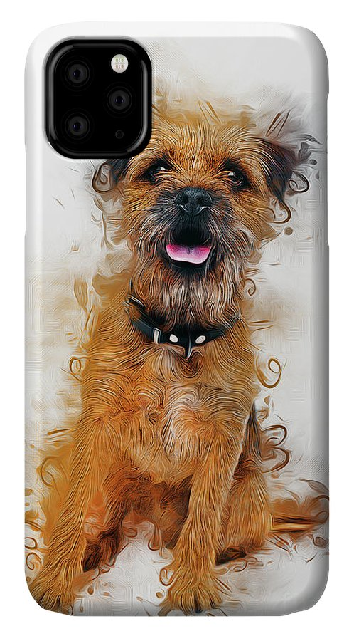 Dog IPhone Case featuring the digital art Border Terrier by Ian Mitchell