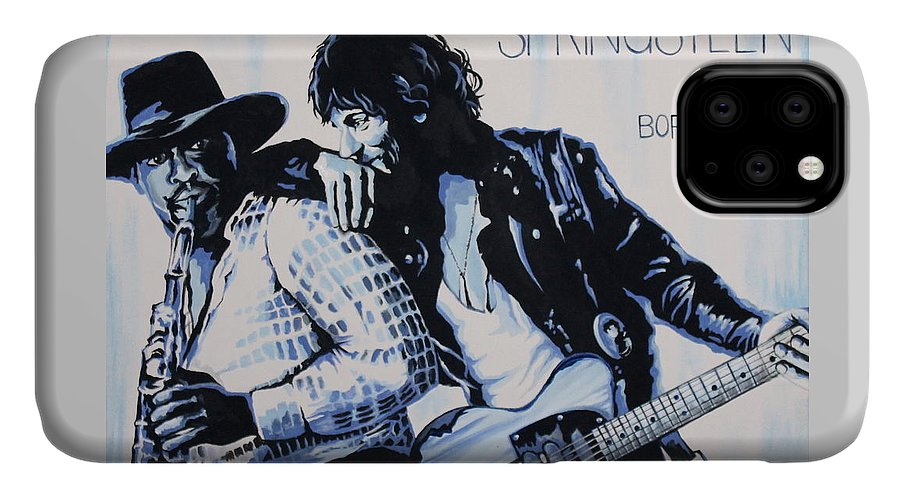 Bruce Springsteen IPhone Case featuring the painting Born to Run Bruce Springsteen by Amy Belonio