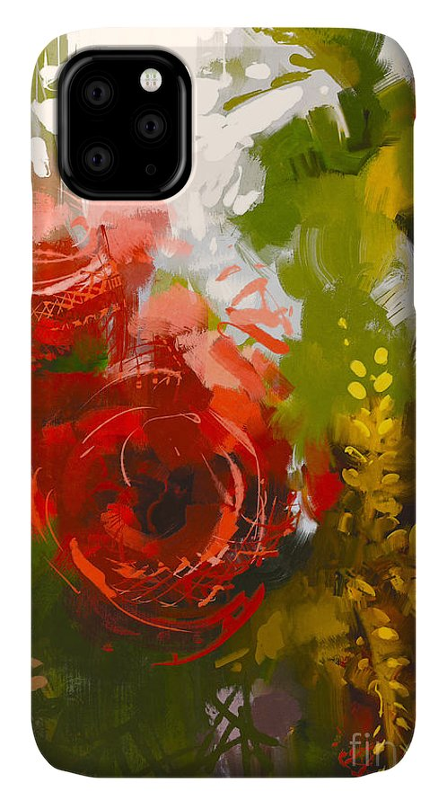 Greeting IPhone Case featuring the digital art Bouquet Of Red Roses In Oil Painting by Tithi Luadthong