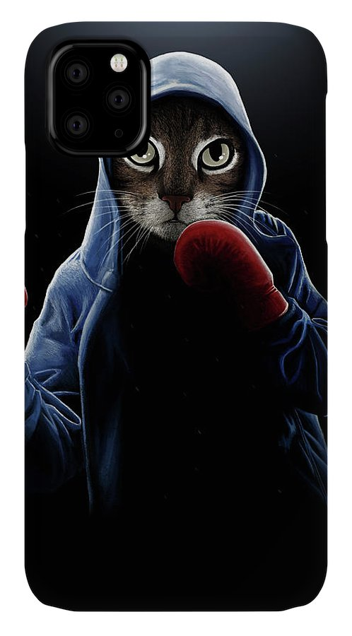 Boxing Cool Cat IPhone Case featuring the mixed media Boxing Cool Cat by Tummeow