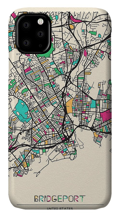 Bridgeport IPhone 11 Case featuring the drawing Bridgeport, United States City Map by Inspirowl Design