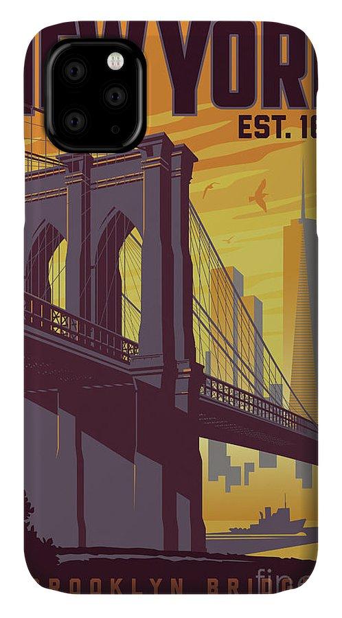 Brooklyn IPhone 11 Case featuring the digital art Brooklyn Bridge Poster - New York Vintage by Jim Zahniser