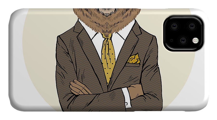 Fancy IPhone Case featuring the digital art Brown Bear Dressed Up In Office Suit by Olga angelloz