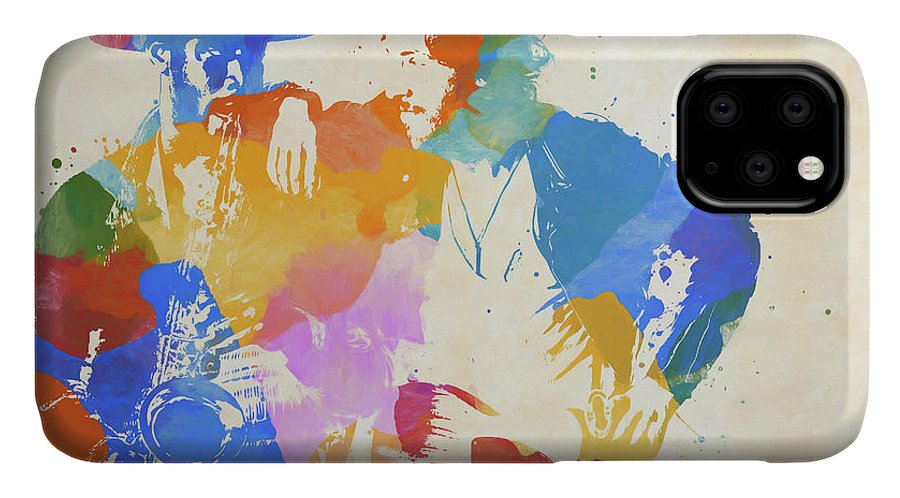 Bruce And The Big Man IPhone Case featuring the painting Bruce And The Big Man Watercolor Splatter by Dan Sproul