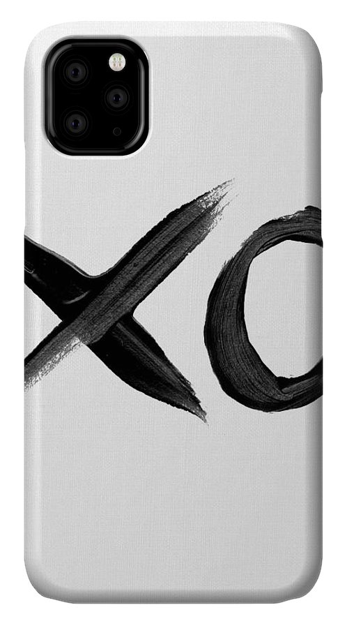 Black And White IPhone Case featuring the mixed media Brush Stroke Xo by Naxart Studio