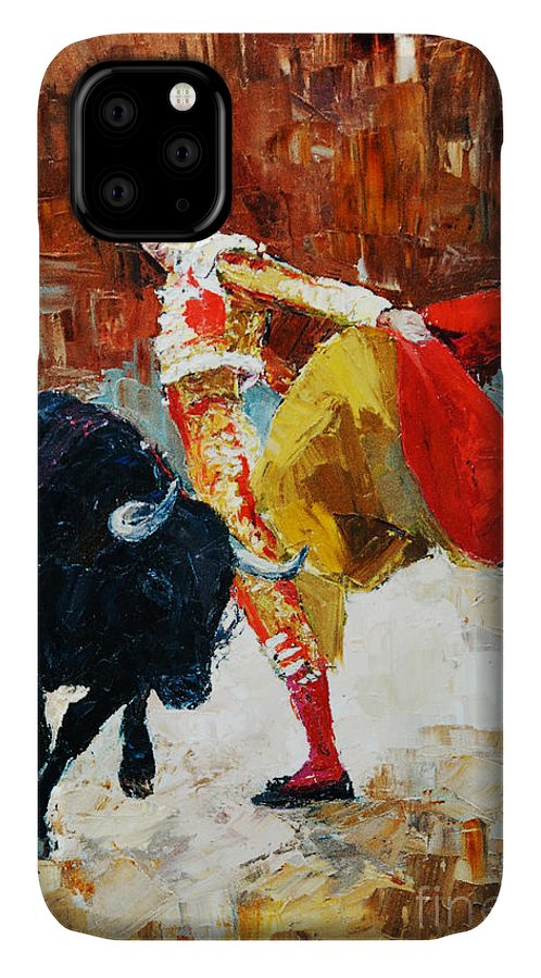 Paint IPhone 11 Case featuring the digital art Bullfighting In Spain, Oil Painting by Maria Bo
