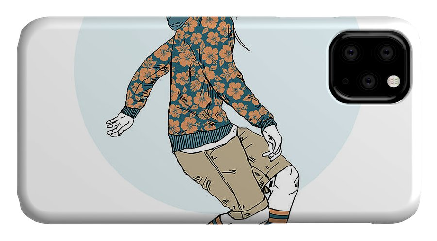 Fancy IPhone Case featuring the digital art Bunny Boy Riding On A Skateboard Furry by Olga angelloz