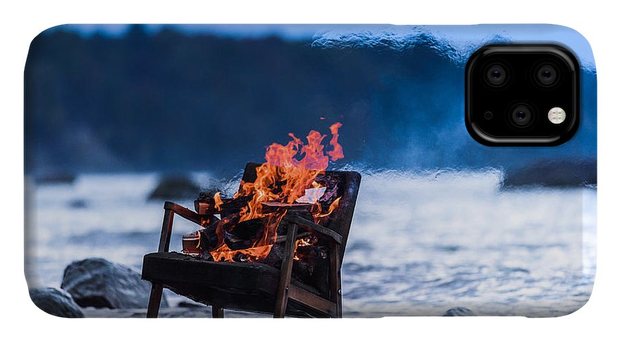 Flare IPhone Case featuring the photograph Burning Old Armchair On The Seashore by Anatoli Styf