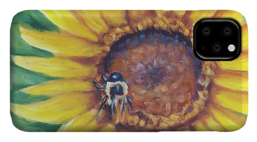 Busy Bee IPhone Case featuring the painting Busy Bee by Marnie Bourque
