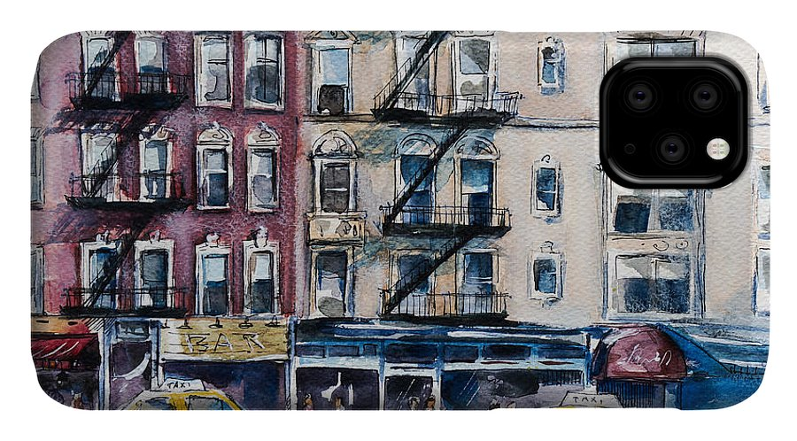 Usa IPhone Case featuring the digital art Busy New York Street. Watercolor Sketch by Kamieshkova