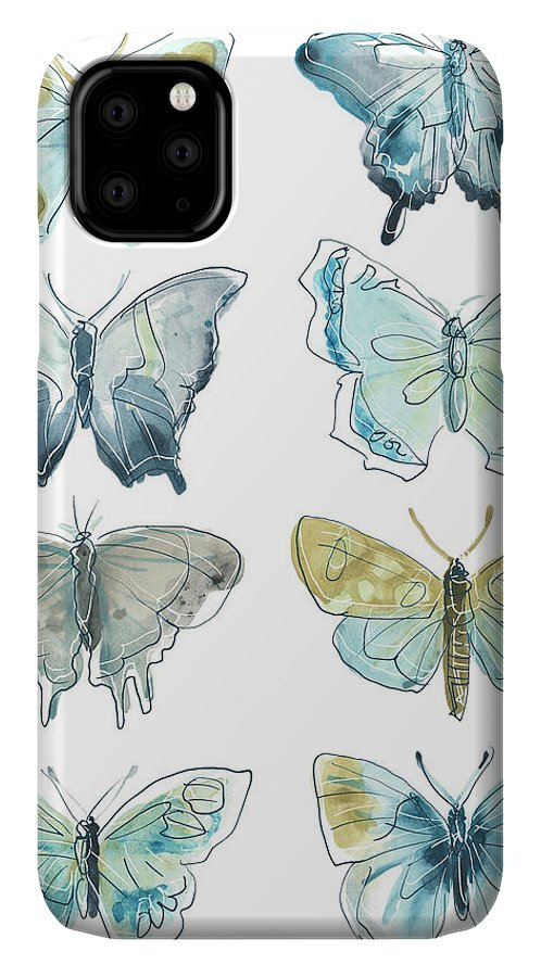 Animals & Nature+butterflies & Bees IPhone Case featuring the painting Butterfly Blues I by June Erica Vess