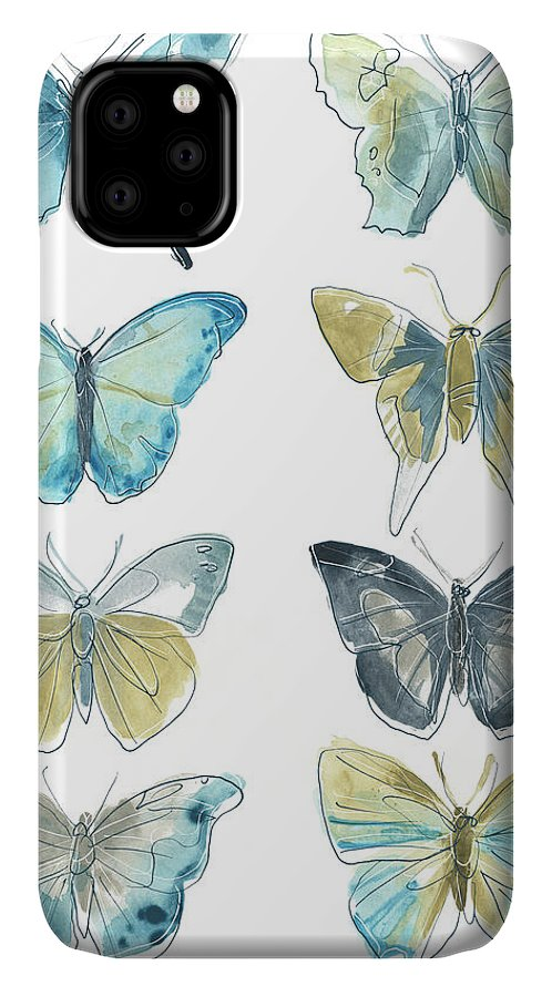 Animals & Nature+butterflies & Bees IPhone Case featuring the painting Butterfly Blues II by June Erica Vess