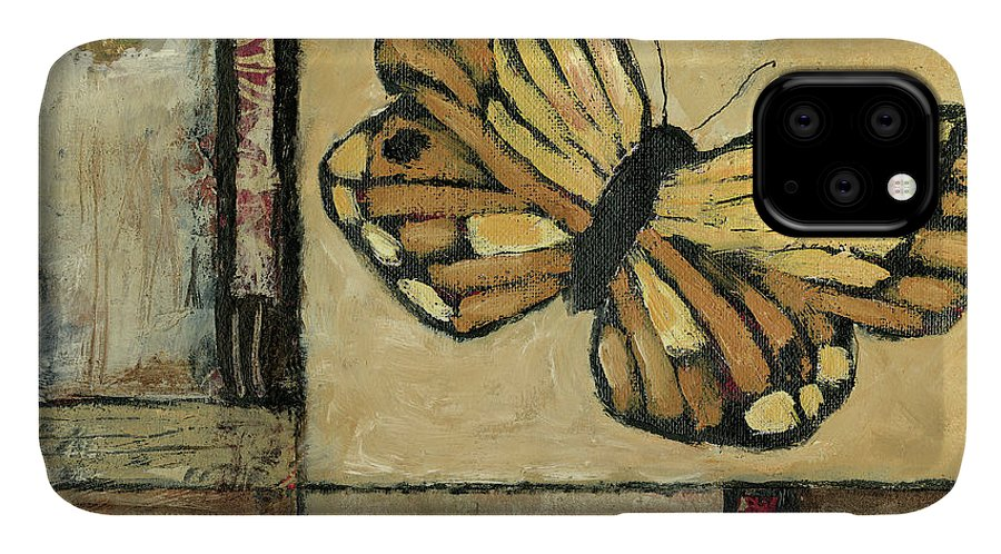 Animals & Nature+butterflies & Bees IPhone Case featuring the painting Butterfly In Border II by Judi Bagnato