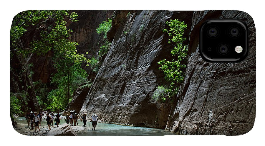 Small IPhone 11 Case featuring the photograph Canyoning In The Narrows, Zion Canyon by Lpedan