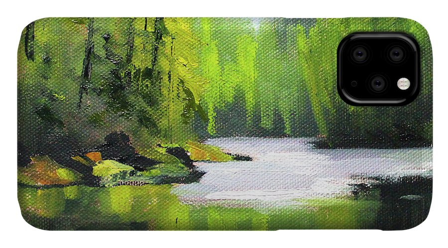 River Painting IPhone Case featuring the painting Cascade River by Nancy Merkle