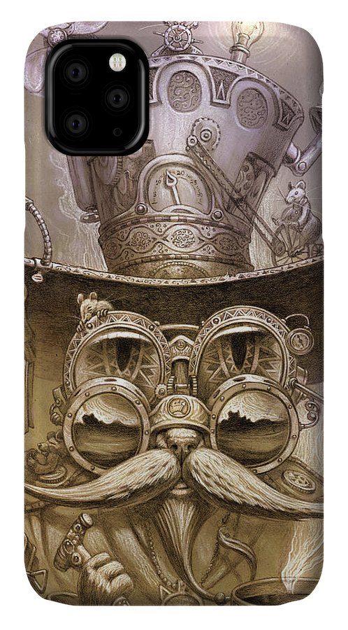 Steampunk IPhone Case featuring the painting Cat daddy steam by Jeff Haynie