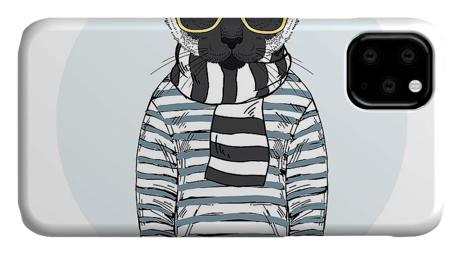 Fancy IPhone Case featuring the photograph Cat Dressed Up In Frock, Furry Art by Olga angelloz