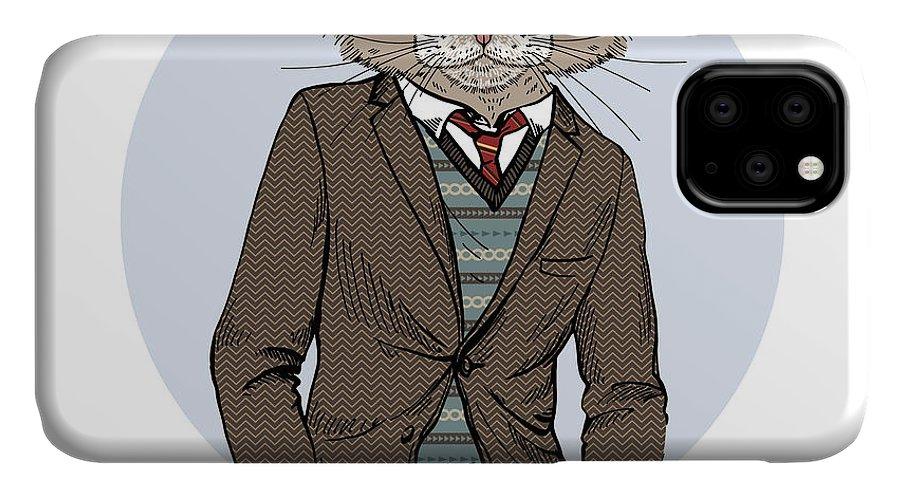 Fancy IPhone Case featuring the digital art Cat Dressed Up In Tweed Jacket, Furry by Olga angelloz